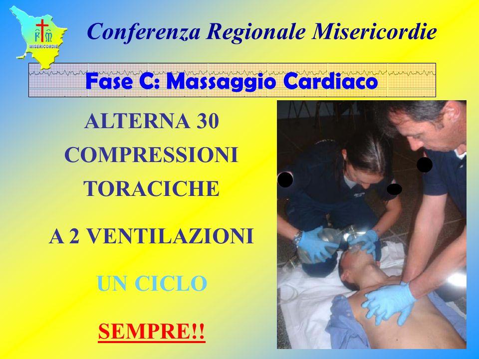 ALTERNA 30 COMPRESSIONI TORACICHE A 2 VENTILAZIONI UN CICLO SEMPRE!! Fase C: Massaggio Cardiaco Conferenza Regionale Misericordie