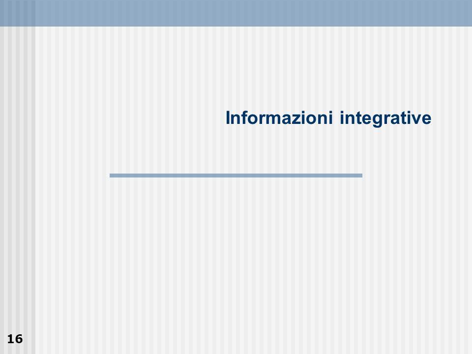 16 Informazioni integrative