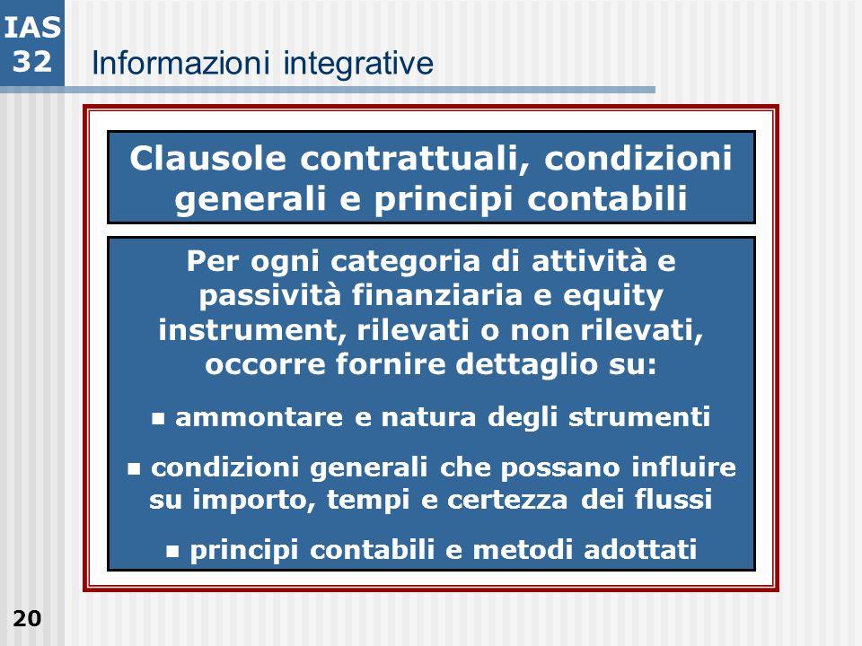 20 Informazioni integrative IAS 32 Clausole contrattuali, condizioni generali e principi contabili Per ogni categoria di attività e passività finanzia