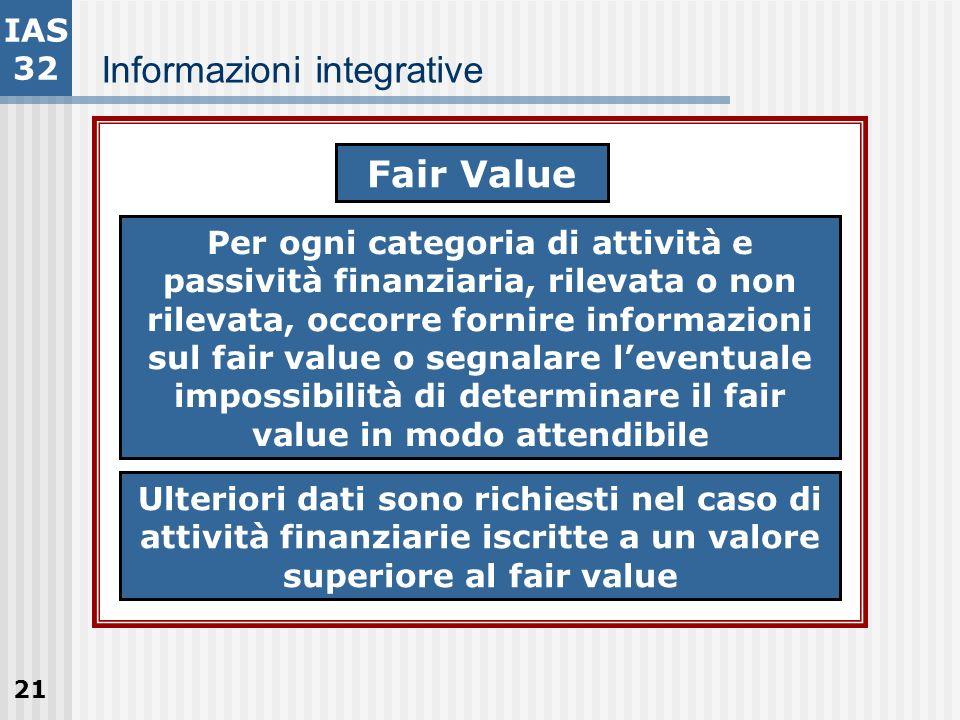21 Informazioni integrative IAS 32 Fair Value Per ogni categoria di attività e passività finanziaria, rilevata o non rilevata, occorre fornire informa