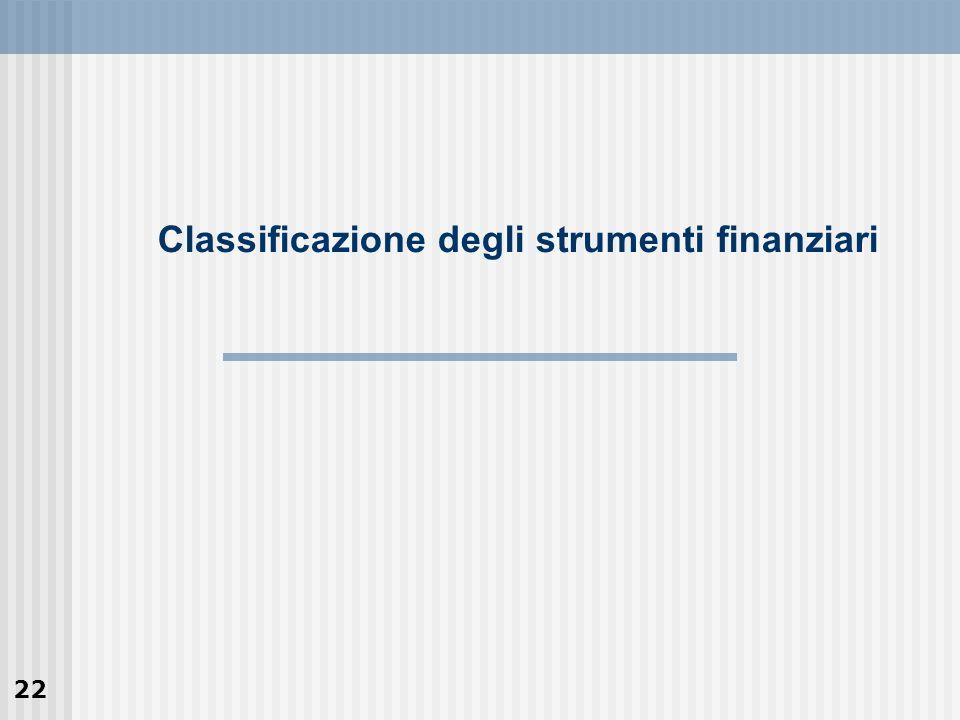 22 Classificazione degli strumenti finanziari