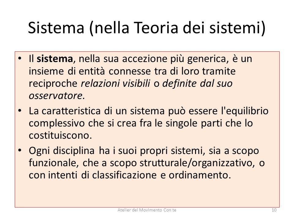 Sistema (nella Teoria dei sistemi) Il sistema, nella sua accezione più generica, è un insieme di entità connesse tra di loro tramite reciproche relazi