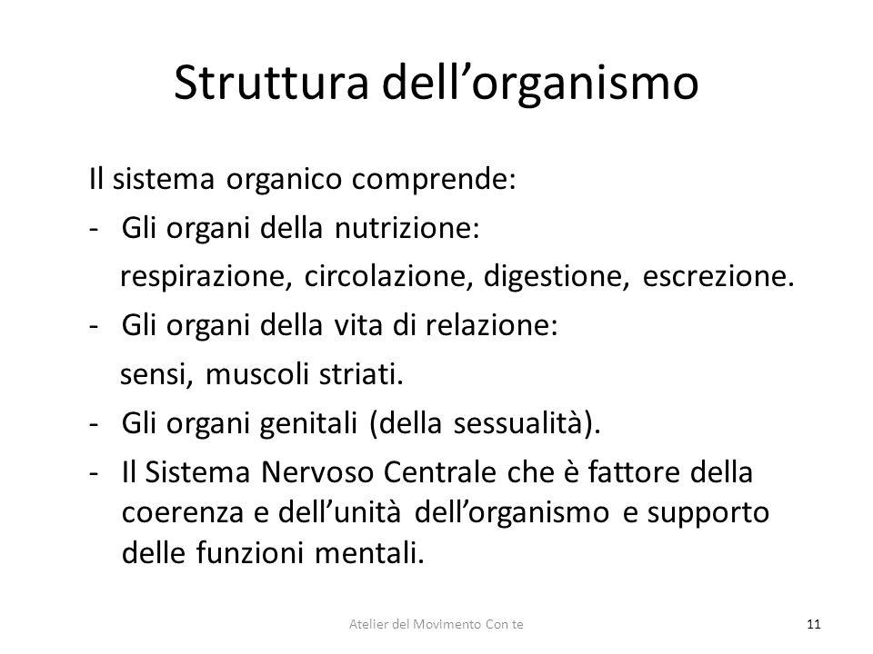 Struttura dellorganismo 11 Il sistema organico comprende: -Gli organi della nutrizione: respirazione, circolazione, digestione, escrezione. -Gli organ