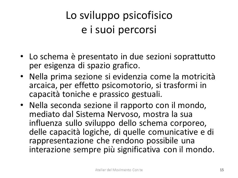 15 Lo sviluppo psicofisico e i suoi percorsi Lo schema è presentato in due sezioni soprattutto per esigenza di spazio grafico. Nella prima sezione si