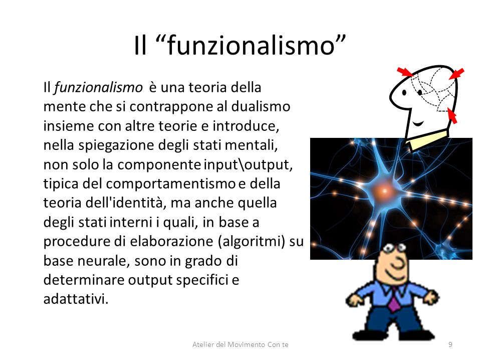 Il funzionalismo Il funzionalismo è una teoria della mente che si contrappone al dualismo insieme con altre teorie e introduce, nella spiegazione degl