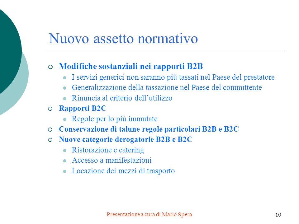 Presentazione a cura di Mario Spera 10 Nuovo assetto normativo Modifiche sostanziali nei rapporti B2B I servizi generici non saranno più tassati nel P