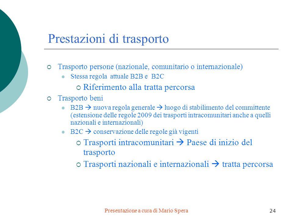 Presentazione a cura di Mario Spera 24 Prestazioni di trasporto Trasporto persone (nazionale, comunitario o internazionale) Stessa regola attuale B2B