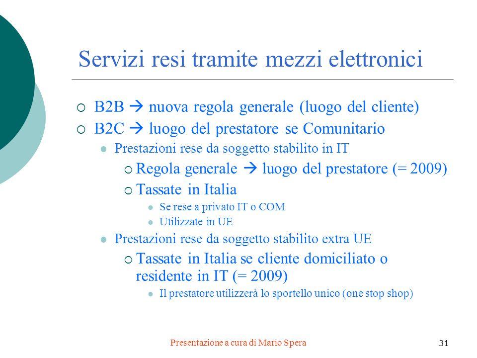 Presentazione a cura di Mario Spera 31 Servizi resi tramite mezzi elettronici B2B nuova regola generale (luogo del cliente) B2C luogo del prestatore s
