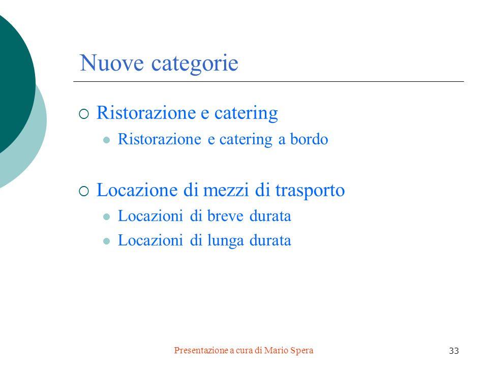 Presentazione a cura di Mario Spera 33 Nuove categorie Ristorazione e catering Ristorazione e catering a bordo Locazione di mezzi di trasporto Locazio