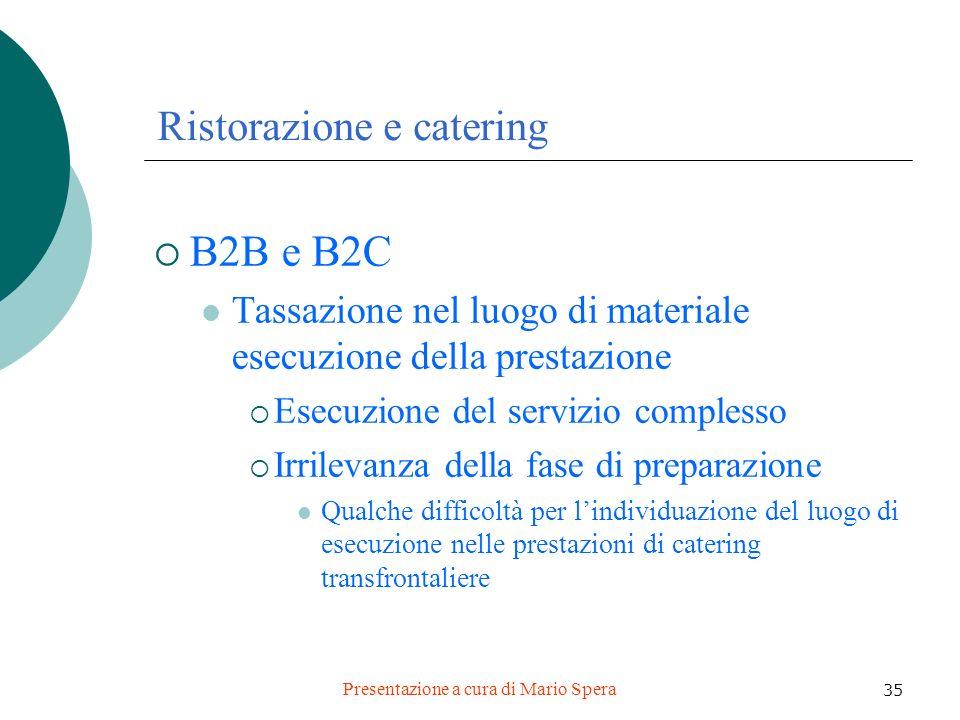 Presentazione a cura di Mario Spera 35 Ristorazione e catering B2B e B2C Tassazione nel luogo di materiale esecuzione della prestazione Esecuzione del