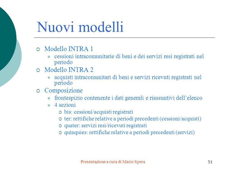 Presentazione a cura di Mario Spera 51 Nuovi modelli Modello INTRA 1 cessioni intracomunitarie di beni e dei servizi resi registrati nel periodo Model