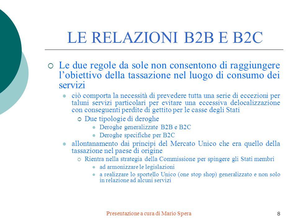 Presentazione a cura di Mario Spera 39 Locazione a lungo termine B2B regola generale Tassazione in Italia se committente soggetto passivo stabilito in Italia B2C regola generale + utilizzo (non rileva la messa a disposizione) Tassazione in Italia Regola 1 Prestatore stabilito in Italia Utilizzo in Comunità Regola 2 Prestatore stabilito fuori Comunità Utilizzo in Italia Dal 1.1.2013 sono previste ulteriori modifiche per i rapporti B2C