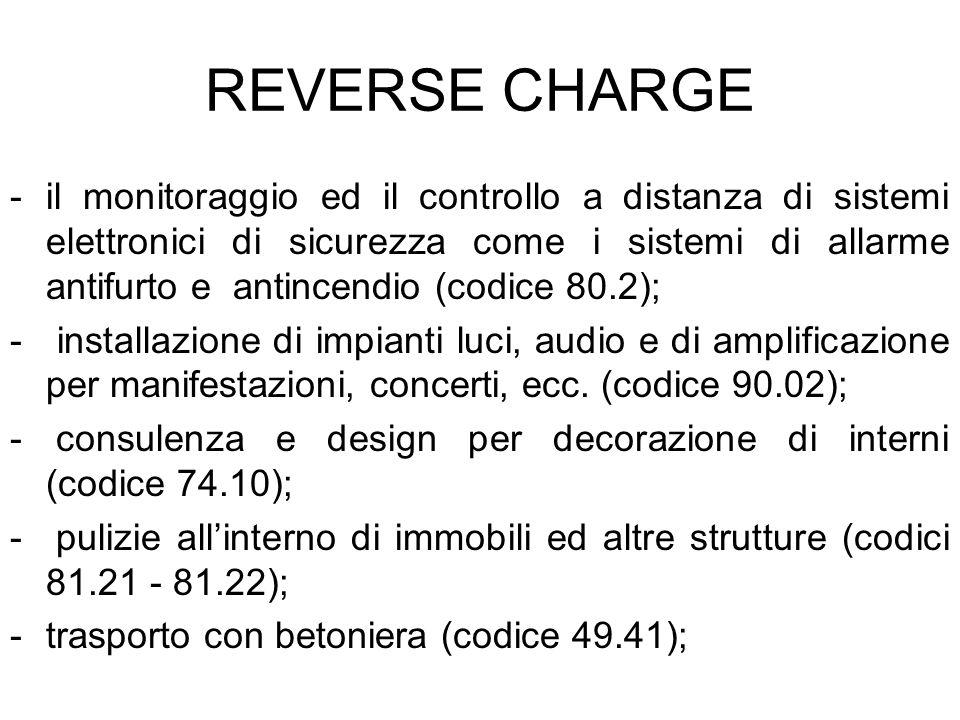REVERSE CHARGE -il monitoraggio ed il controllo a distanza di sistemi elettronici di sicurezza come i sistemi di allarme antifurto e antincendio (codi