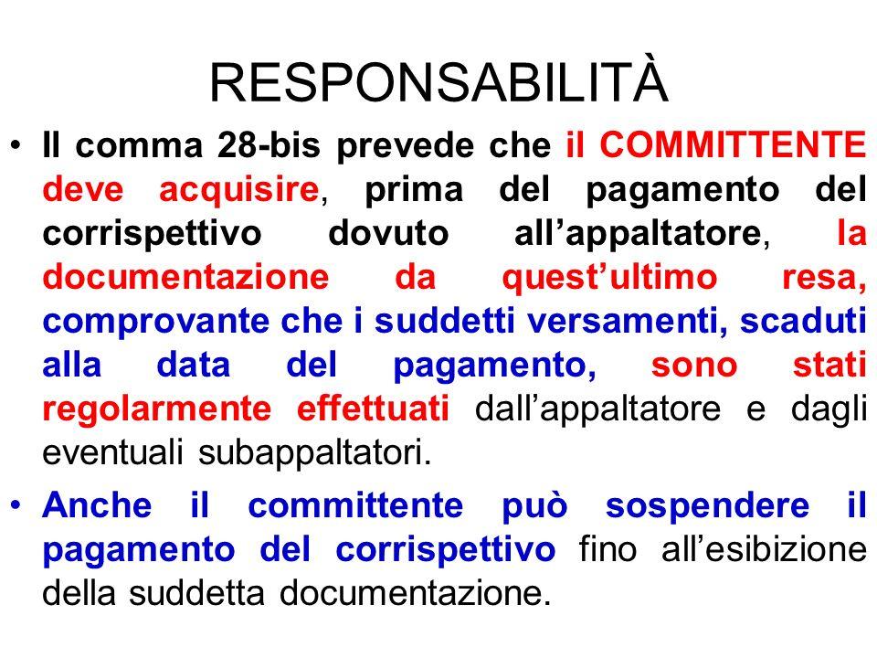 RESPONSABILITÀ Il comma 28-bis prevede che il COMMITTENTE deve acquisire, prima del pagamento del corrispettivo dovuto allappaltatore, la documentazio