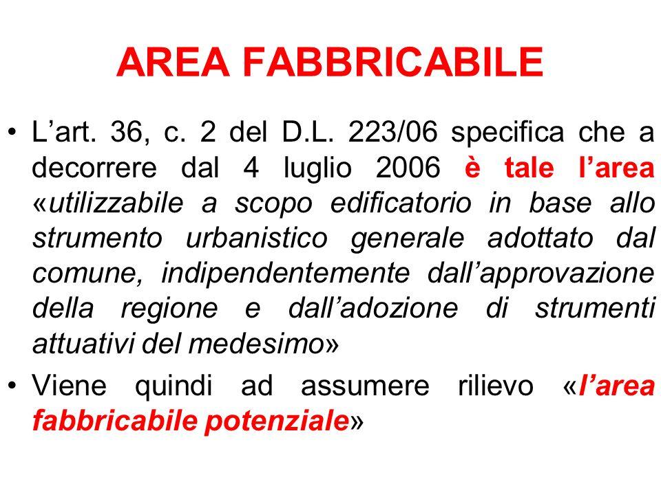 AREA FABBRICABILE Lart. 36, c. 2 del D.L. 223/06 specifica che a decorrere dal 4 luglio 2006 è tale larea «utilizzabile a scopo edificatorio in base a