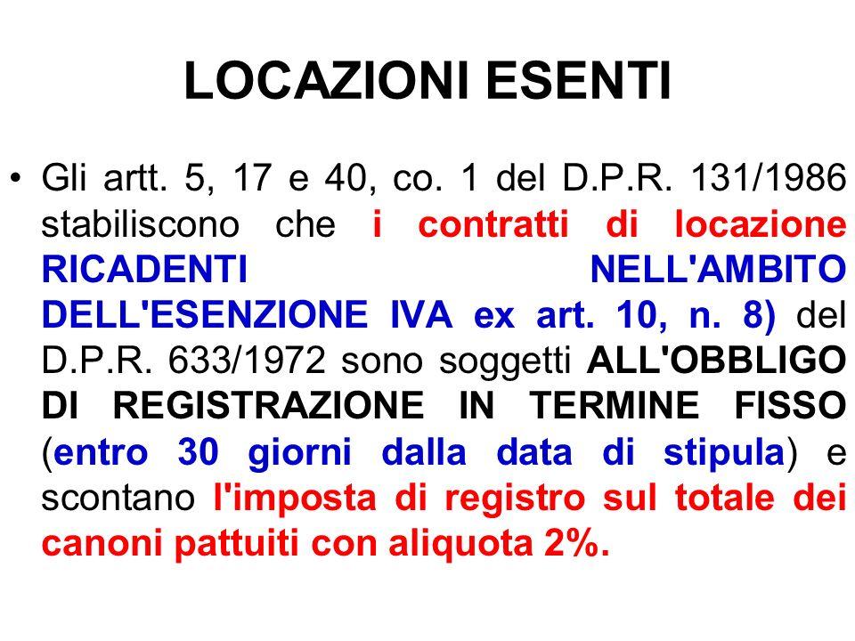 LOCAZIONI ESENTI Gli artt. 5, 17 e 40, co. 1 del D.P.R. 131/1986 stabiliscono che i contratti di locazione RICADENTI NELL'AMBITO DELL'ESENZIONE IVA ex