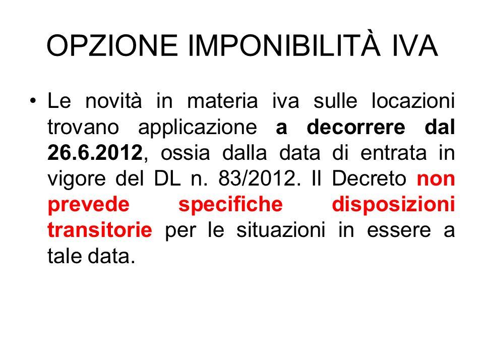 OPZIONE IMPONIBILITÀ IVA Le novità in materia iva sulle locazioni trovano applicazione a decorrere dal 26.6.2012, ossia dalla data di entrata in vigor