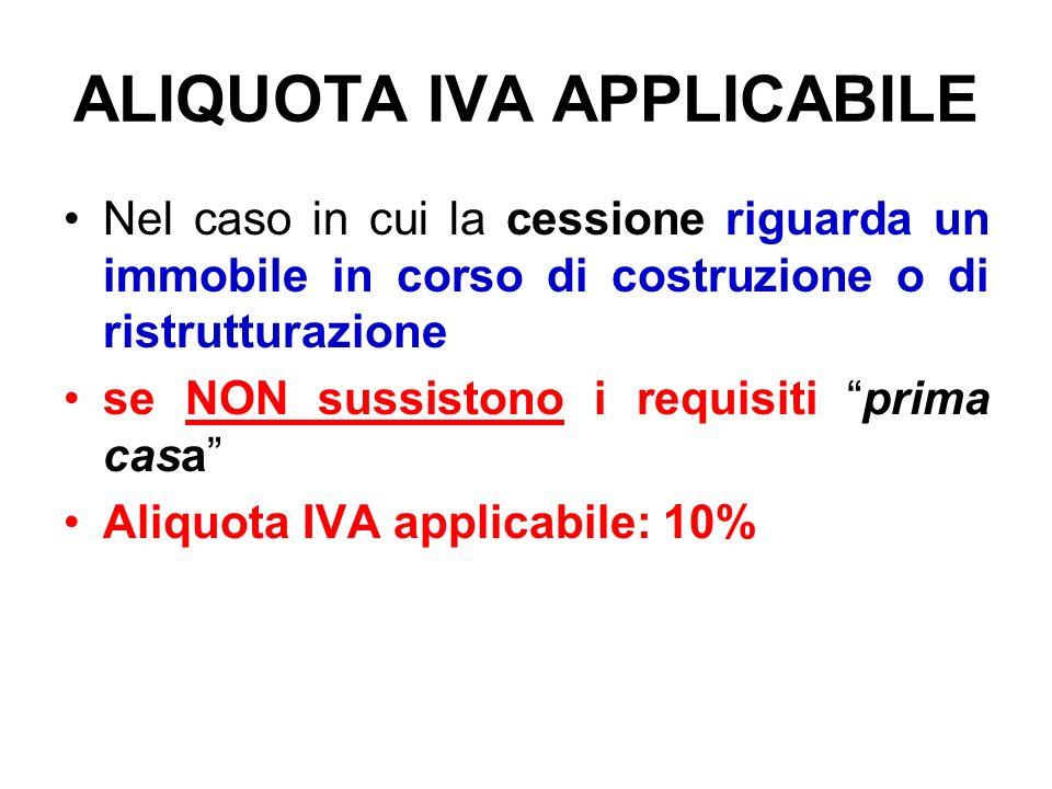 ALIQUOTA IVA APPLICABILE Nel caso in cui la cessione riguarda un immobile in corso di costruzione o di ristrutturazione se NON sussistono i requisiti