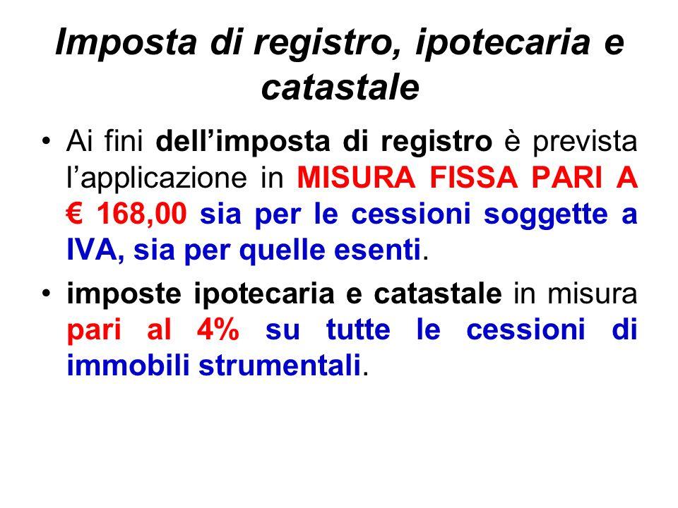 Imposta di registro, ipotecaria e catastale Ai fini dellimposta di registro è prevista lapplicazione in MISURA FISSA PARI A 168,00 sia per le cessioni