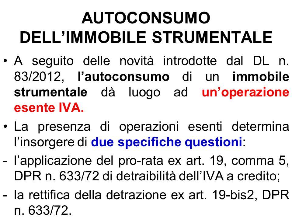 AUTOCONSUMO DELLIMMOBILE STRUMENTALE A seguito delle novità introdotte dal DL n. 83/2012, lautoconsumo di un immobile strumentale dà luogo ad unoperaz