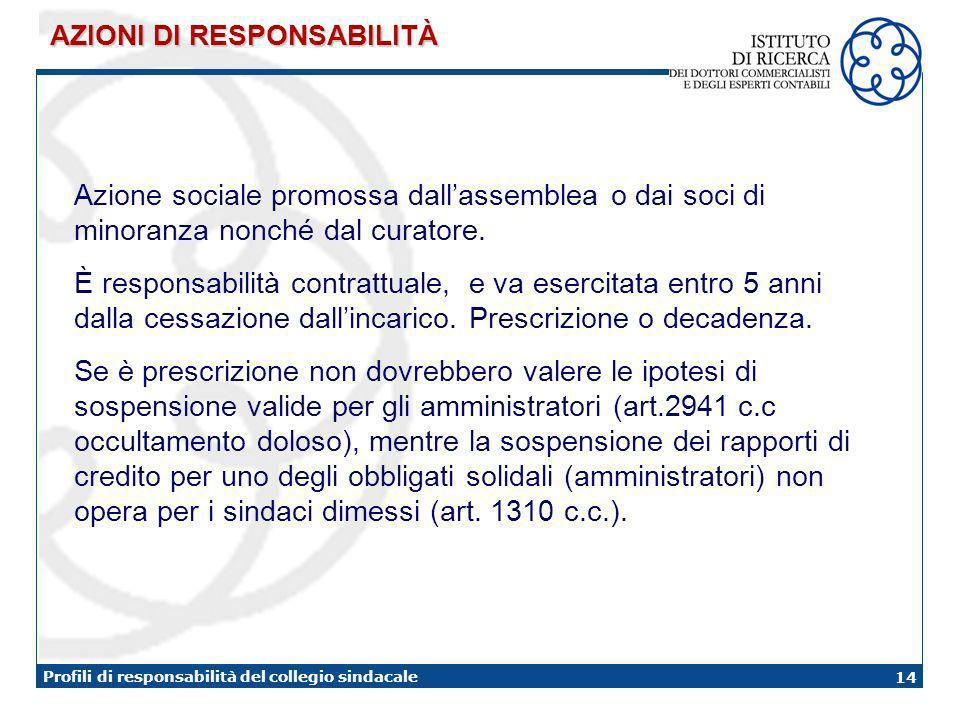 14 Profili di responsabilità del collegio sindacale AZIONI DI RESPONSABILITÀ Azione sociale promossa dallassemblea o dai soci di minoranza nonché dal curatore.