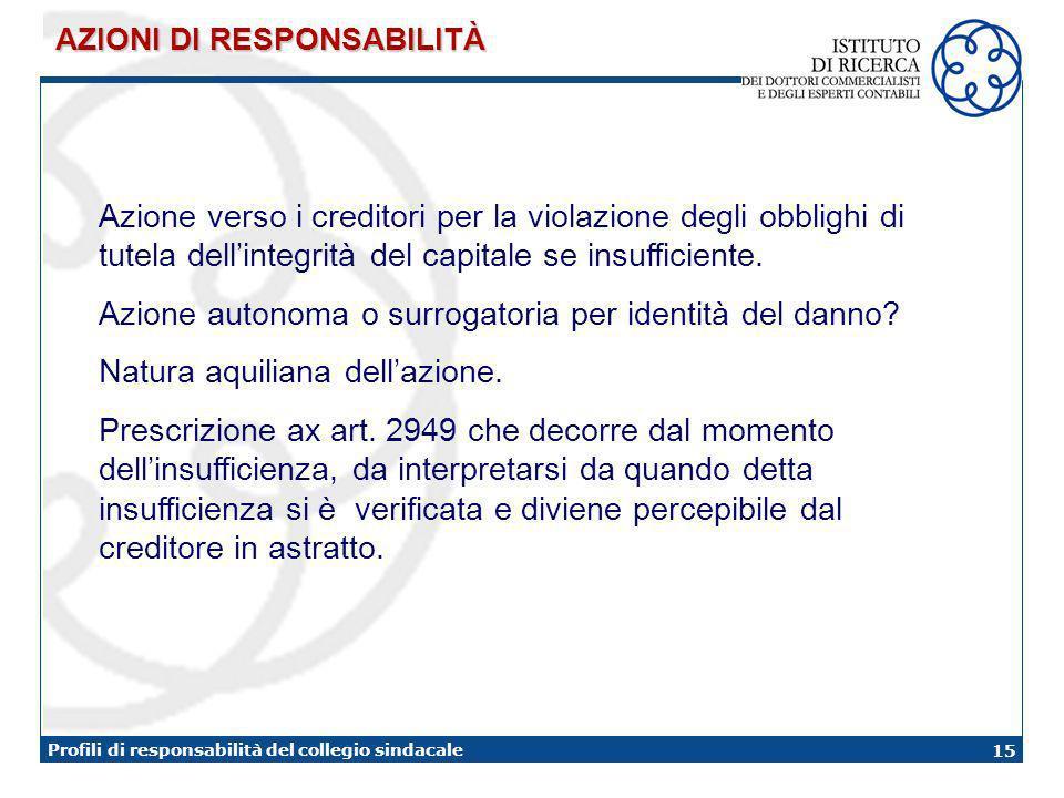 15 Profili di responsabilità del collegio sindacale AZIONI DI RESPONSABILITÀ Azione verso i creditori per la violazione degli obblighi di tutela dellintegrità del capitale se insufficiente.