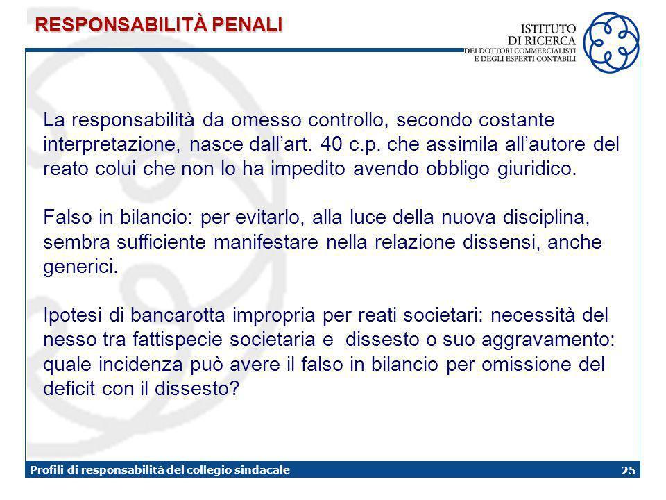 25 Profili di responsabilità del collegio sindacale RESPONSABILITÀ PENALI La responsabilità da omesso controllo, secondo costante interpretazione, nasce dallart.