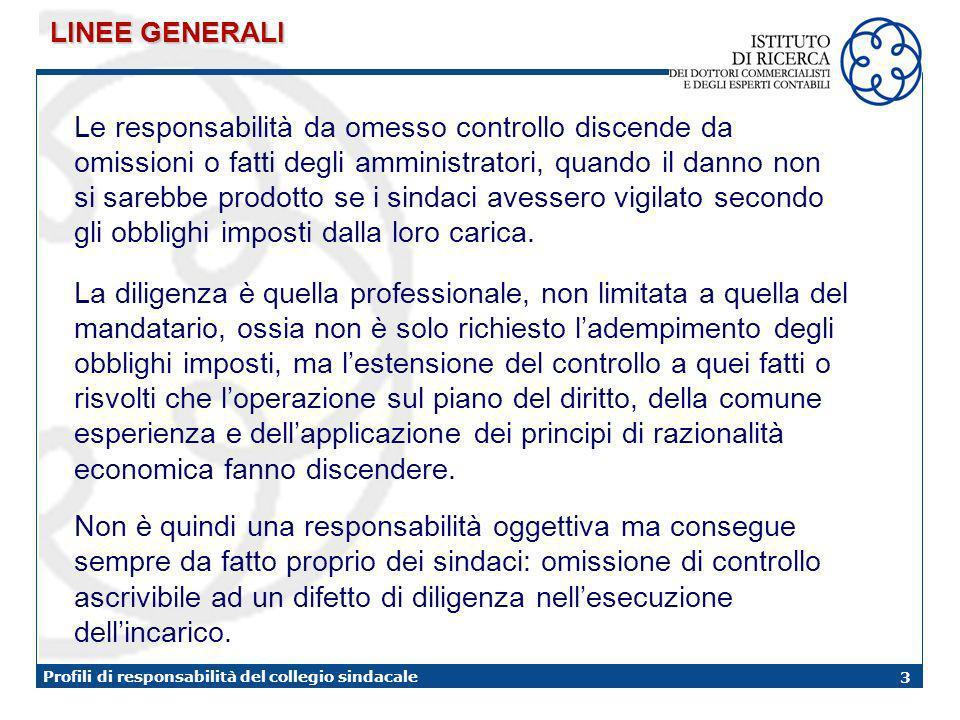 3 Profili di responsabilità del collegio sindacale Le responsabilità da omesso controllo discende da omissioni o fatti degli amministratori, quando il