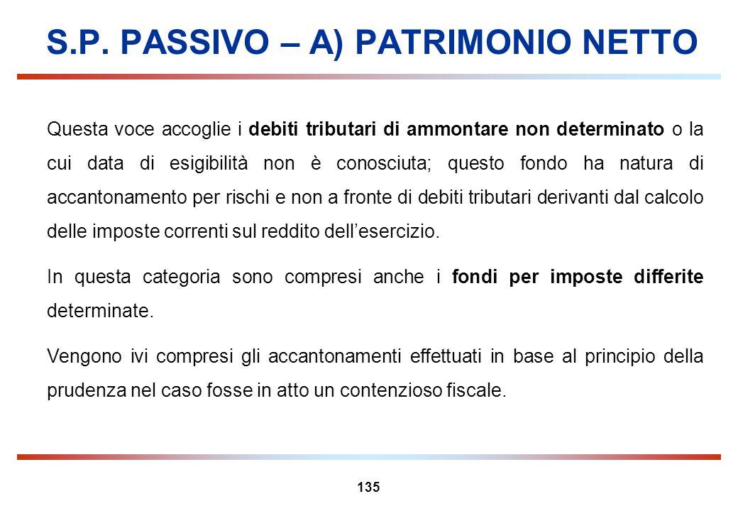 135 S.P. PASSIVO – A) PATRIMONIO NETTO Questa voce accoglie i debiti tributari di ammontare non determinato o la cui data di esigibilità non è conosci
