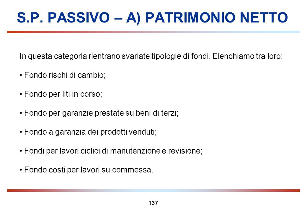 137 S.P. PASSIVO – A) PATRIMONIO NETTO In questa categoria rientrano svariate tipologie di fondi. Elenchiamo tra loro: Fondo rischi di cambio; Fondo p