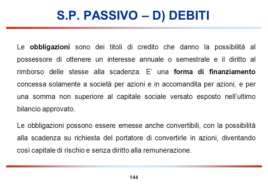 144 S.P. PASSIVO – D) DEBITI Le obbligazioni sono dei titoli di credito che danno la possibilità al possessore di ottenere un interesse annuale o seme