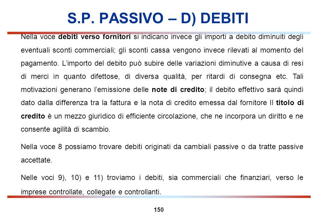 150 S.P. PASSIVO – D) DEBITI Nella voce debiti verso fornitori si indicano invece gli importi a debito diminuiti degli eventuali sconti commerciali; g