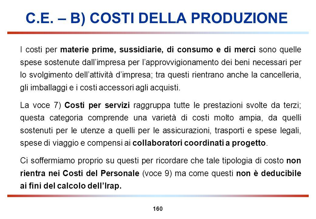 160 C.E. – B) COSTI DELLA PRODUZIONE I costi per materie prime, sussidiarie, di consumo e di merci sono quelle spese sostenute dallimpresa per lapprov