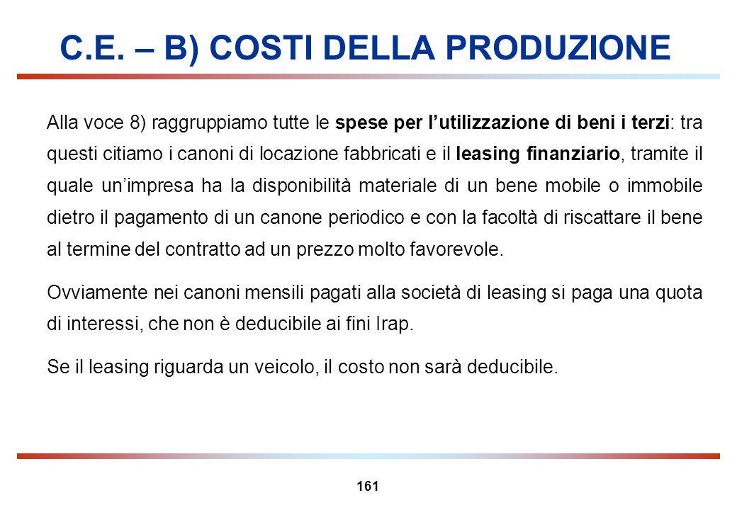 161 C.E. – B) COSTI DELLA PRODUZIONE Alla voce 8) raggruppiamo tutte le spese per lutilizzazione di beni i terzi: tra questi citiamo i canoni di locaz