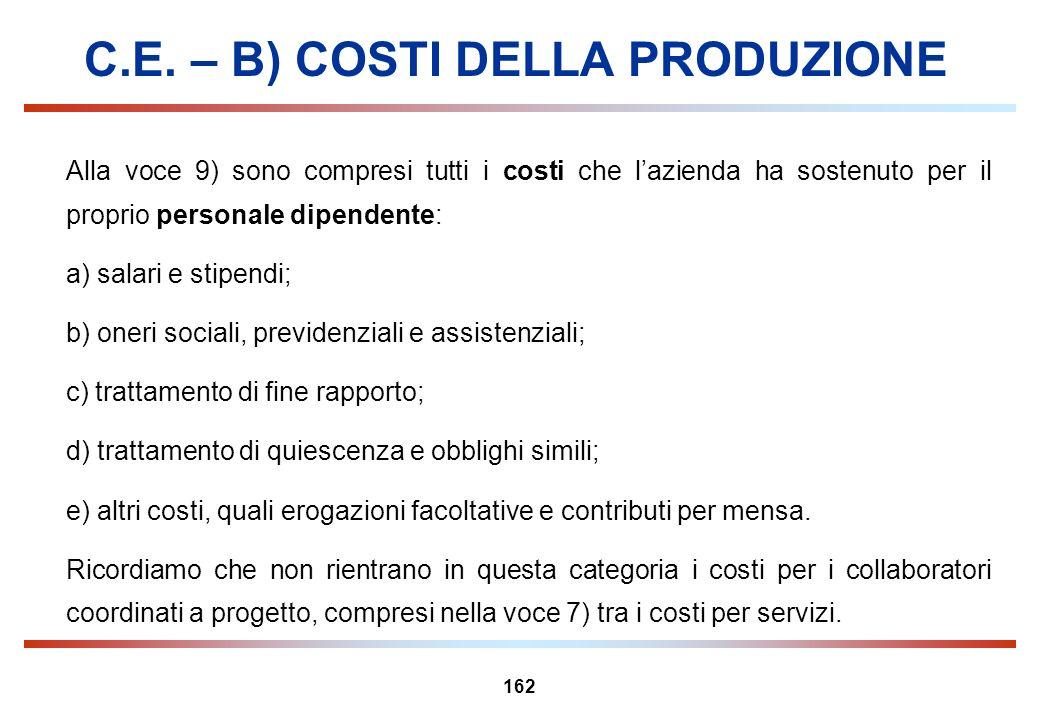 162 C.E. – B) COSTI DELLA PRODUZIONE Alla voce 9) sono compresi tutti i costi che lazienda ha sostenuto per il proprio personale dipendente: a) salari