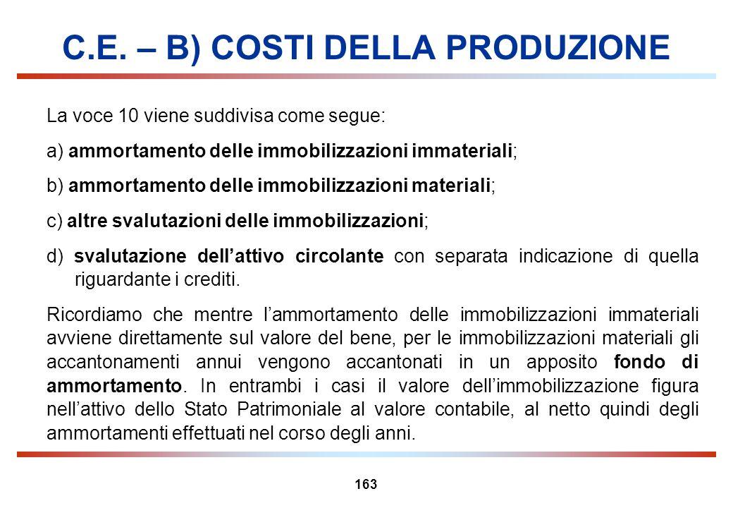 163 C.E. – B) COSTI DELLA PRODUZIONE La voce 10 viene suddivisa come segue: a) ammortamento delle immobilizzazioni immateriali; b) ammortamento delle