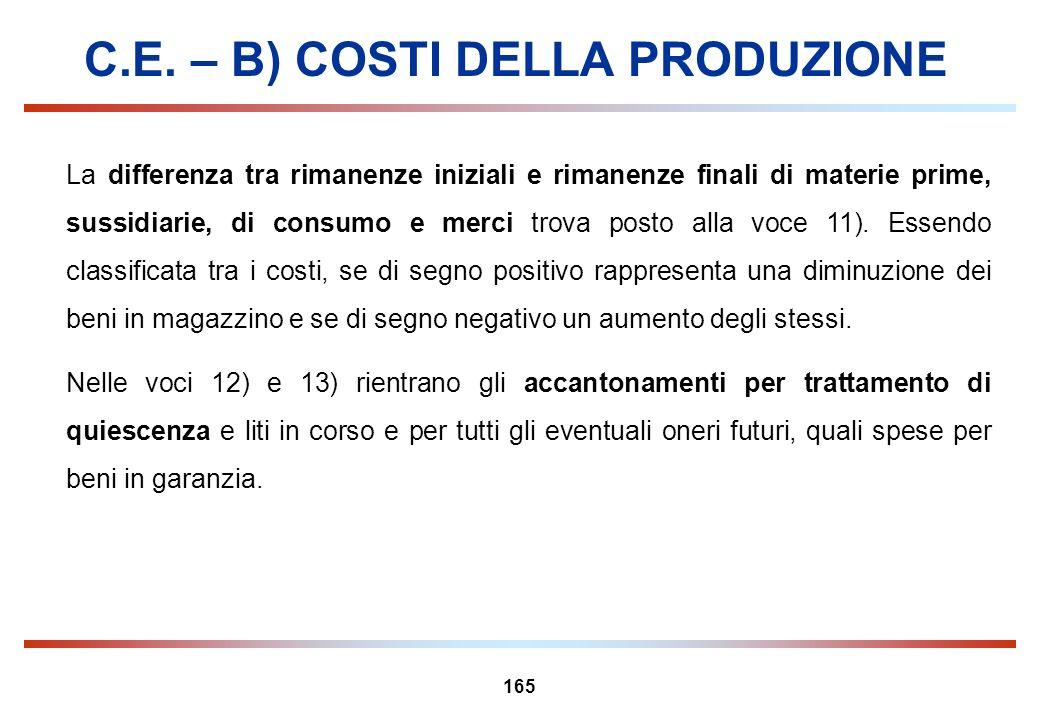 165 C.E. – B) COSTI DELLA PRODUZIONE La differenza tra rimanenze iniziali e rimanenze finali di materie prime, sussidiarie, di consumo e merci trova p