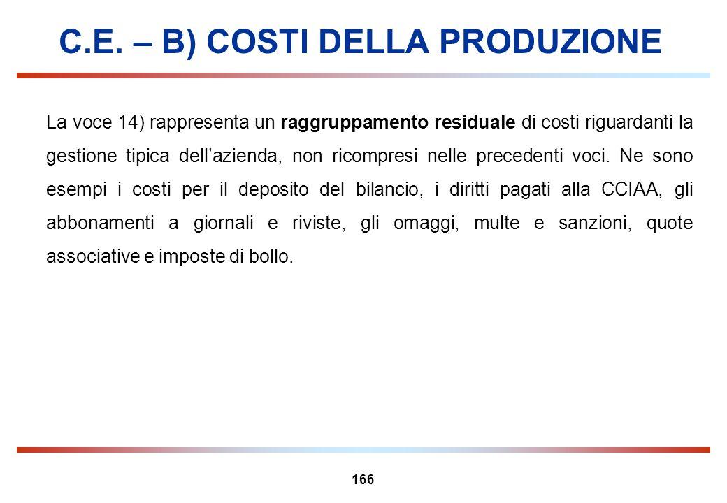 166 C.E. – B) COSTI DELLA PRODUZIONE La voce 14) rappresenta un raggruppamento residuale di costi riguardanti la gestione tipica dellazienda, non rico