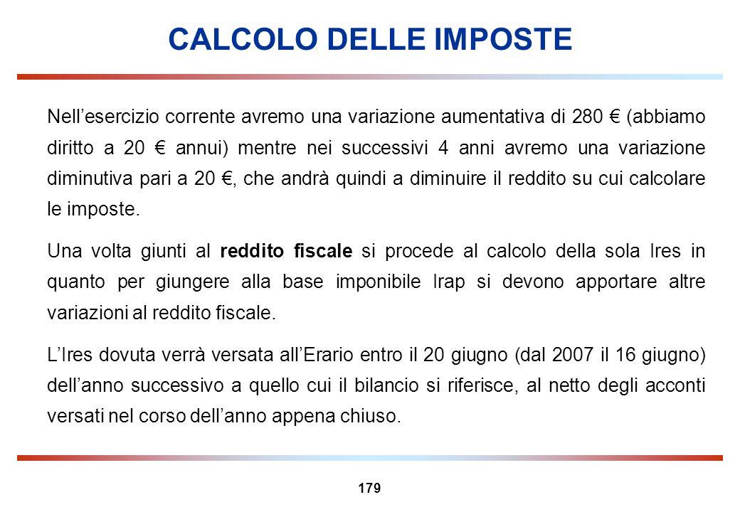 179 CALCOLO DELLE IMPOSTE Nellesercizio corrente avremo una variazione aumentativa di 280 (abbiamo diritto a 20 annui) mentre nei successivi 4 anni av