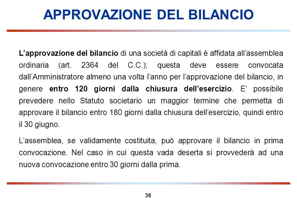 36 APPROVAZIONE DEL BILANCIO Lapprovazione del bilancio di una società di capitali è affidata allassemblea ordinaria (art. 2364 del C.C.); questa deve
