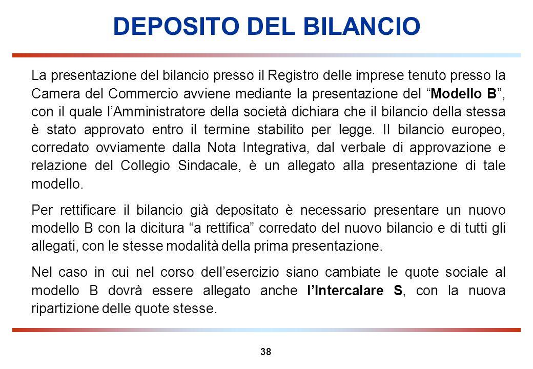 38 DEPOSITO DEL BILANCIO La presentazione del bilancio presso il Registro delle imprese tenuto presso la Camera del Commercio avviene mediante la pres