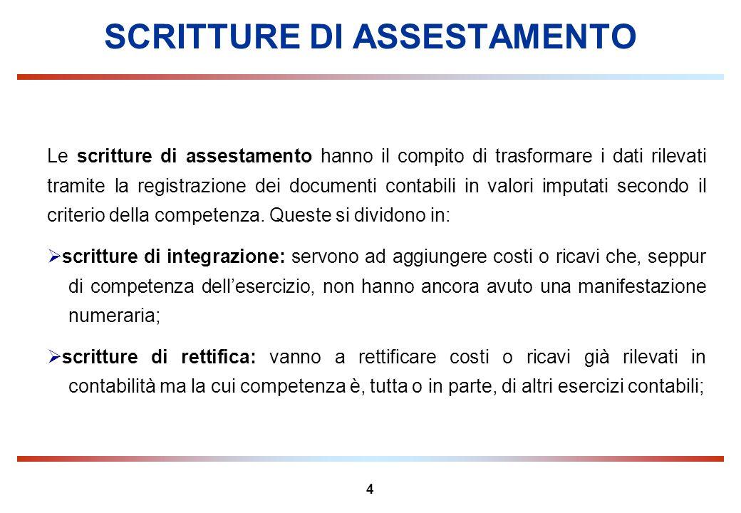 4 SCRITTURE DI ASSESTAMENTO Le scritture di assestamento hanno il compito di trasformare i dati rilevati tramite la registrazione dei documenti contab