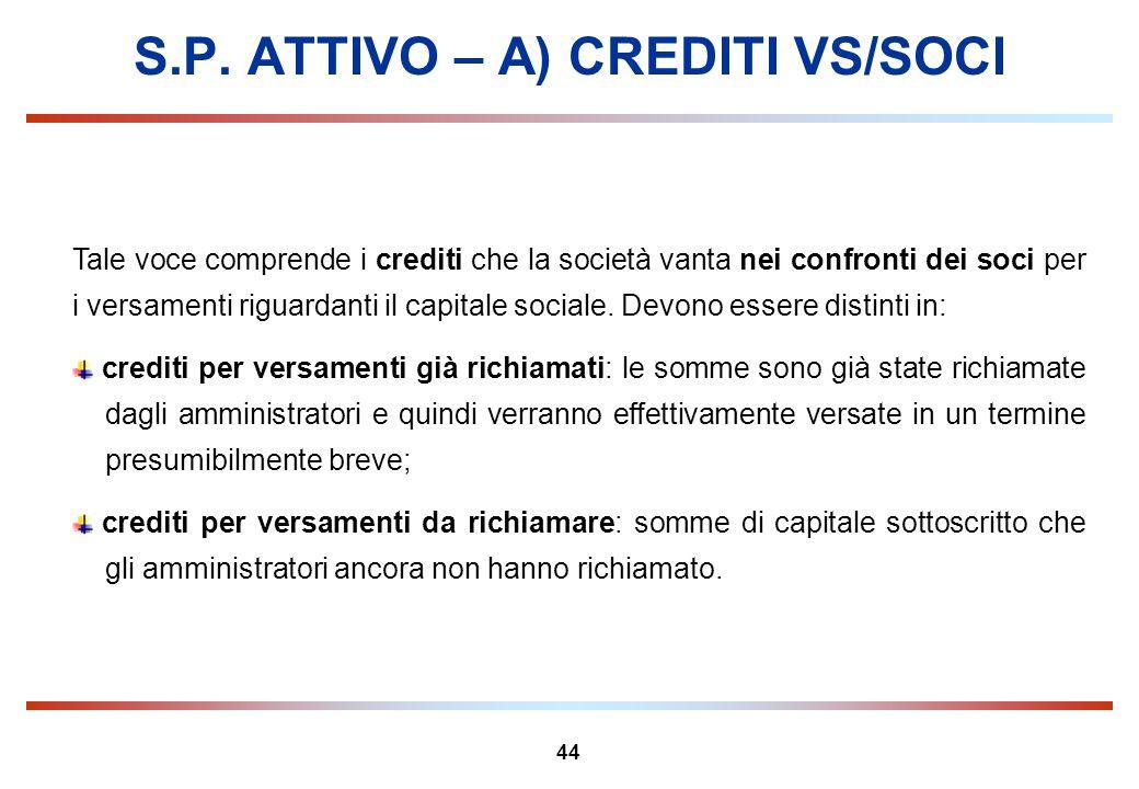44 S.P. ATTIVO – A) CREDITI VS/SOCI Tale voce comprende i crediti che la società vanta nei confronti dei soci per i versamenti riguardanti il capitale