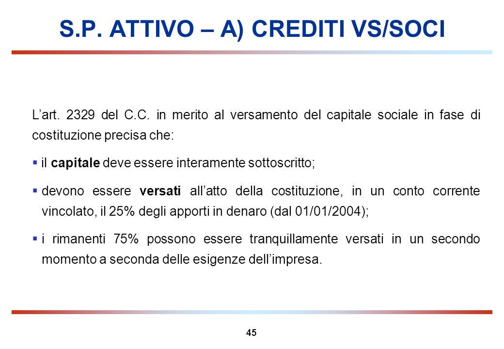 45 S.P. ATTIVO – A) CREDITI VS/SOCI Lart. 2329 del C.C. in merito al versamento del capitale sociale in fase di costituzione precisa che: il capitale