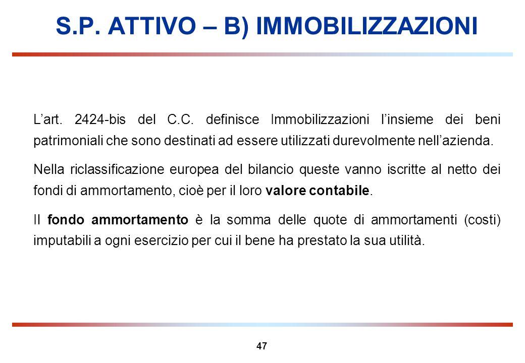 47 S.P. ATTIVO – B) IMMOBILIZZAZIONI Lart. 2424-bis del C.C. definisce Immobilizzazioni linsieme dei beni patrimoniali che sono destinati ad essere ut