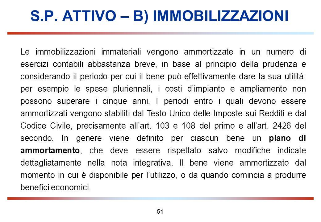 51 S.P. ATTIVO – B) IMMOBILIZZAZIONI Le immobilizzazioni immateriali vengono ammortizzate in un numero di esercizi contabili abbastanza breve, in base