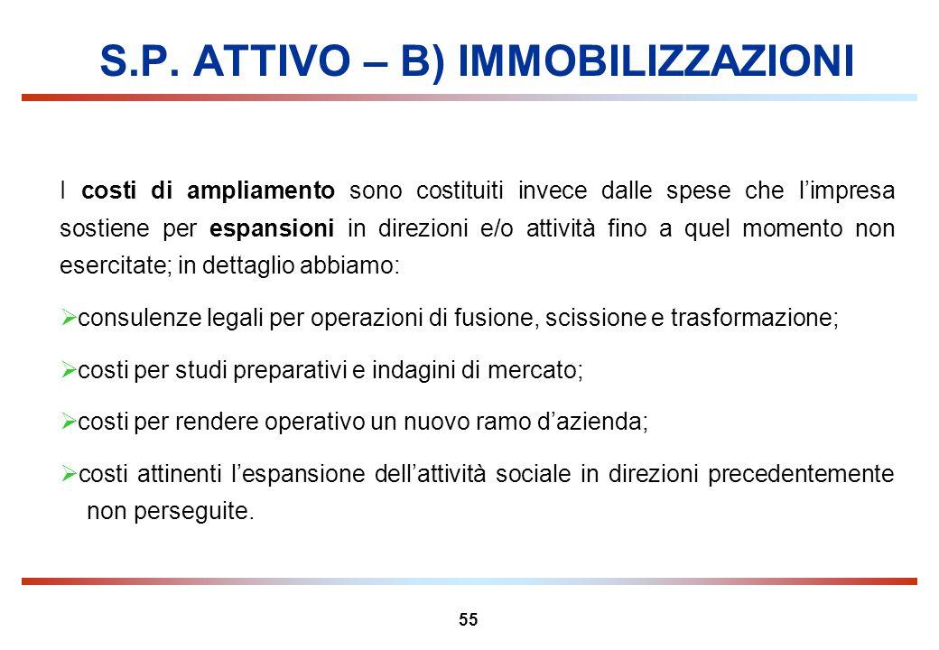 55 S.P. ATTIVO – B) IMMOBILIZZAZIONI I costi di ampliamento sono costituiti invece dalle spese che limpresa sostiene per espansioni in direzioni e/o a