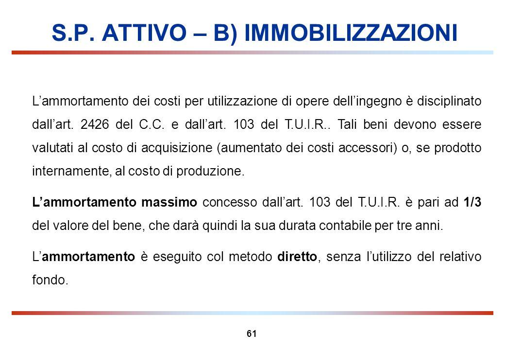 61 S.P. ATTIVO – B) IMMOBILIZZAZIONI Lammortamento dei costi per utilizzazione di opere dellingegno è disciplinato dallart. 2426 del C.C. e dallart. 1