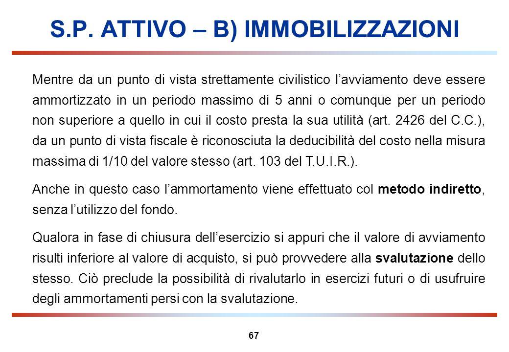 67 S.P. ATTIVO – B) IMMOBILIZZAZIONI Mentre da un punto di vista strettamente civilistico lavviamento deve essere ammortizzato in un periodo massimo d