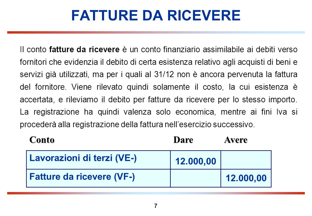7 FATTURE DA RICEVERE Conto Dare Avere Il conto fatture da ricevere è un conto finanziario assimilabile ai debiti verso fornitori che evidenzia il deb